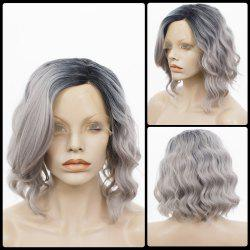 Medium Side Parting Shaggy Curly Colormix Bob Lace Front Human Hair Wig