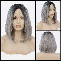 Medium Centre Parting Silky Straight Bob Lace Front Human Hair Wig