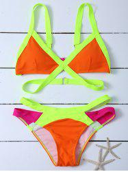 Colorblock Cut Out Bandage Bikini Set