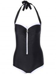 Zipper Cut Out Halter Swimwear
