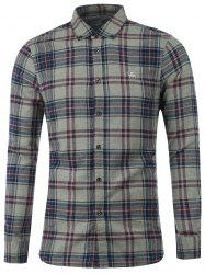 Plaid Embroidered Button Down Shirt