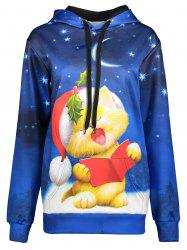 Cartoon Cat Print Christmas Hoodie