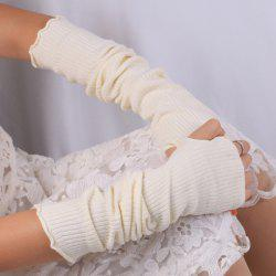 Knitted Ribbed Fingerless Plain Arm Warmers - OFF-WHITE
