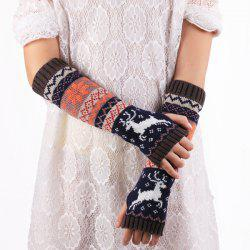 Christmas Reindeer Snowflake Warm Knit Fingerless Arm Warmers