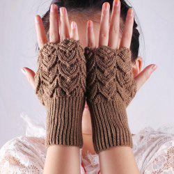 Crochet Hand Knit Hollow Out Heart Fingerless Gloves - DARK KHAKI