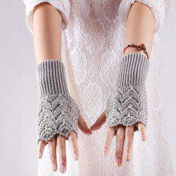 Crochet Knit Hollow Out Heart Fingerless Gloves