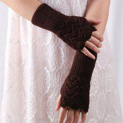 Crochet Hand Knit Hollow Out Heart Fingerless Gloves -