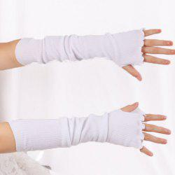 Knit Fingerless Arm Warmers with Flouncing Edge -