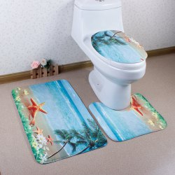 3Pcs Antislip Sea Toilet Lid Cover and Bath Mats - LAKE BLUE