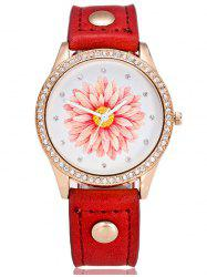 Artificial Leather Watchband Flower Rhinestone Watch