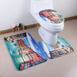 Venice Antislip Bath Rug and Toilet Mats Sets 3 Pieces