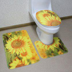 3PCS Flannel Sunflower Bath Rug and Mats Sets - CITRUS