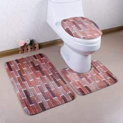3Pcs Flannel Brick Wall Bath Rug and Mats Sets
