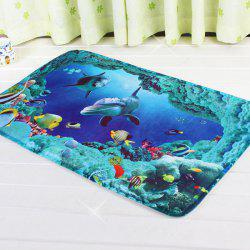 Water Absorption Antislip Sea World Bathroom Rug - BLUE