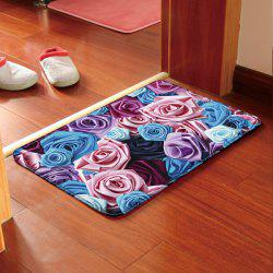 Floral Print Water Absorption Antislip Bathroom Rug