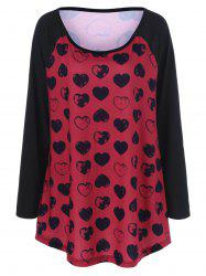 Heart Print Plus Size Raglan Sleeves T-Shirt