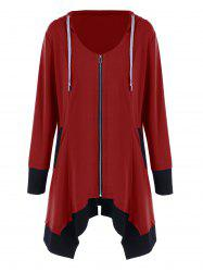 Plus Size Zip Up Asymmetrical Hoodie