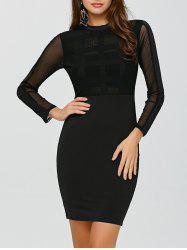 Long Sleeve Mesh Insert High Waist Dress - BLACK
