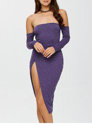 Off The Shoulder Slit Bodycon Night Out Dress - PURPLE