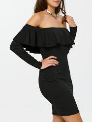 Flounce Long Sleeve Off The Shoulder Bodycon Dress