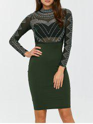 Mesh Insert Polka Dot Knee Length Bodycon Dress