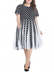 Plus Size Polka Dot Chiffon Flare Dress