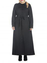 Plus Size Belted Button Down Maxi Shirt Dress