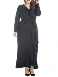 Ruffled Plus Size Belted Maxi Dress