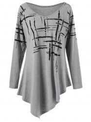 Splatter Paint Plus Size Asymmetric T-Shirt - GRAY