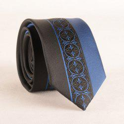Retro Rounded Jacquard 6CM Width Design Tie - BLUE AND BLACK