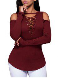Lace-Up Pullover Knitwear - BURGUNDY