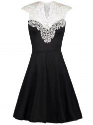 Vintage Lace Insert High Waist Dress - BLACK