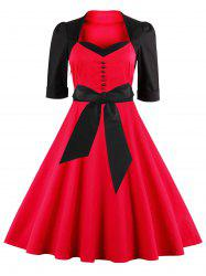 Midi Fit and Flare Two Tone Vintage Dress - RED