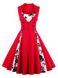 Fit and Flare Print Vintage Tea Length Dress - RED