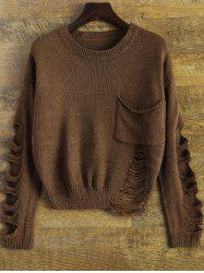 Patch Pocket Ripped Sweater -