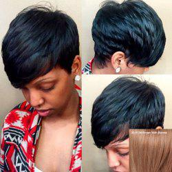 Stylish Short Inclined Bang Human Hair Wig For Women