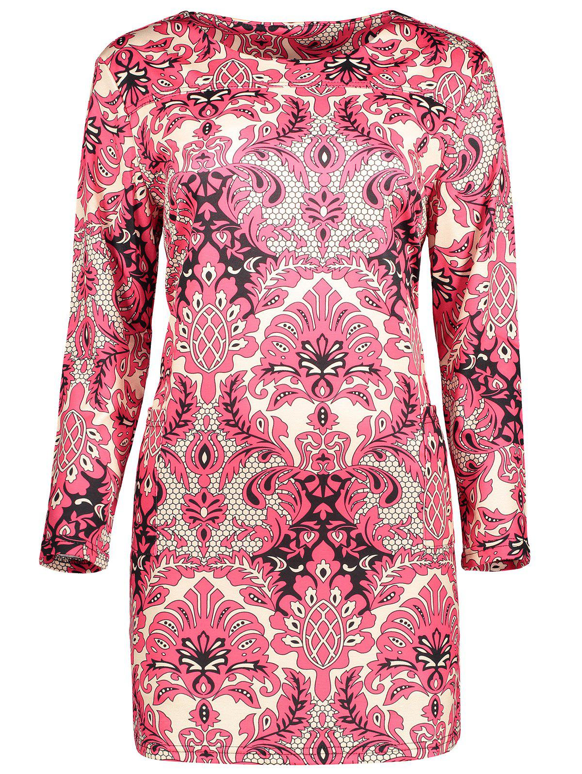 Affordable Plus Size  Paisley Printed Sheath Dress
