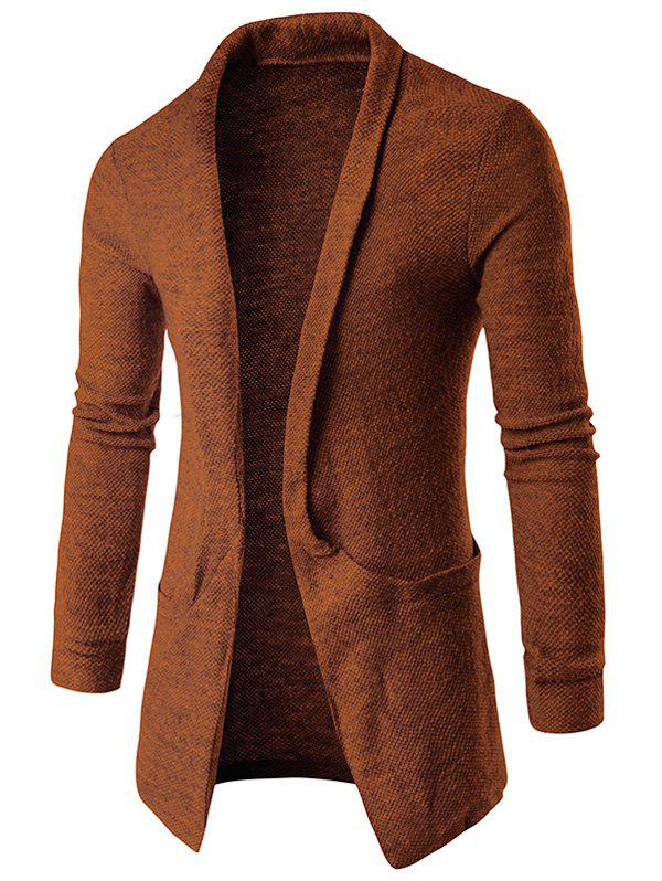 Pocket Texture Open Front CardiganMEN<br><br>Size: 2XL; Color: COFFEE; Type: Cardigans; Material: Cotton Blends; Sleeve Length: Full; Collar: Turn-down Collar; Style: Fashion; Weight: 0.3540kg; Package Contents: 1 x Cardigan;