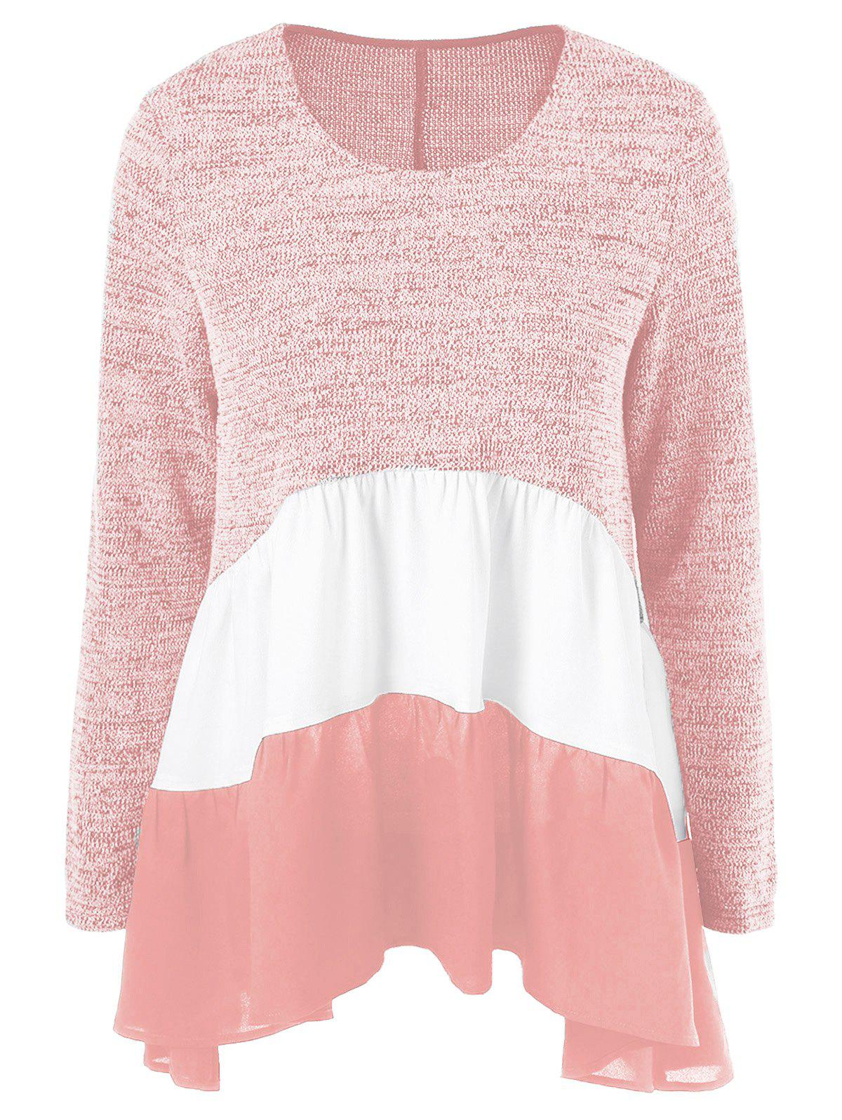 Color Block Tiered T-ShirtWOMEN<br><br>Size: L; Color: ORANGEPINK; Material: Polyester,Rayon; Sleeve Length: Full; Collar: Scoop Neck; Style: Casual; Pattern Type: Patchwork; Season: Fall,Spring,Winter; Weight: 0.380kg; Package Contents: 1 x T-Shirt;