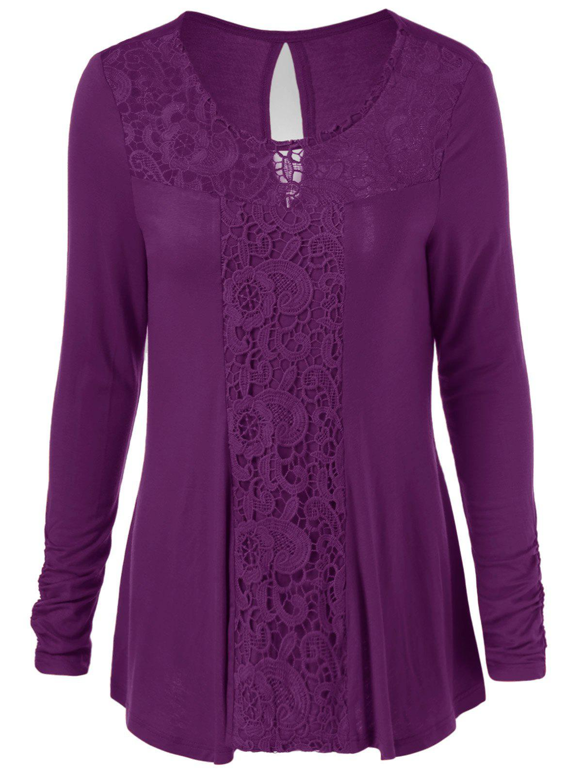 Sale Long Sleeve Cut Out Lace Trim T-Shirt