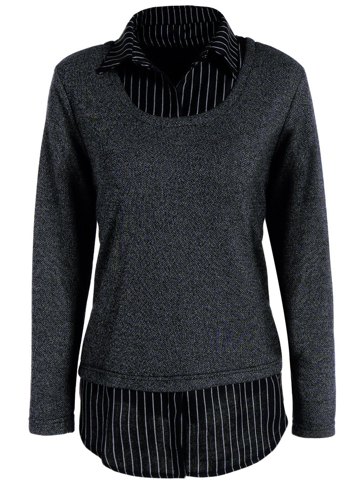 Striped Shirt Collar Fake Twinset TopWOMEN<br><br>Size: 5XL; Color: DEEP GRAY; Material: Polyester; Shirt Length: Long; Sleeve Length: Full; Collar: Shirt Collar; Style: Fashion; Season: Fall,Winter; Pattern Type: Striped; Weight: 0.450kg; Package Contents: 1 x Top;