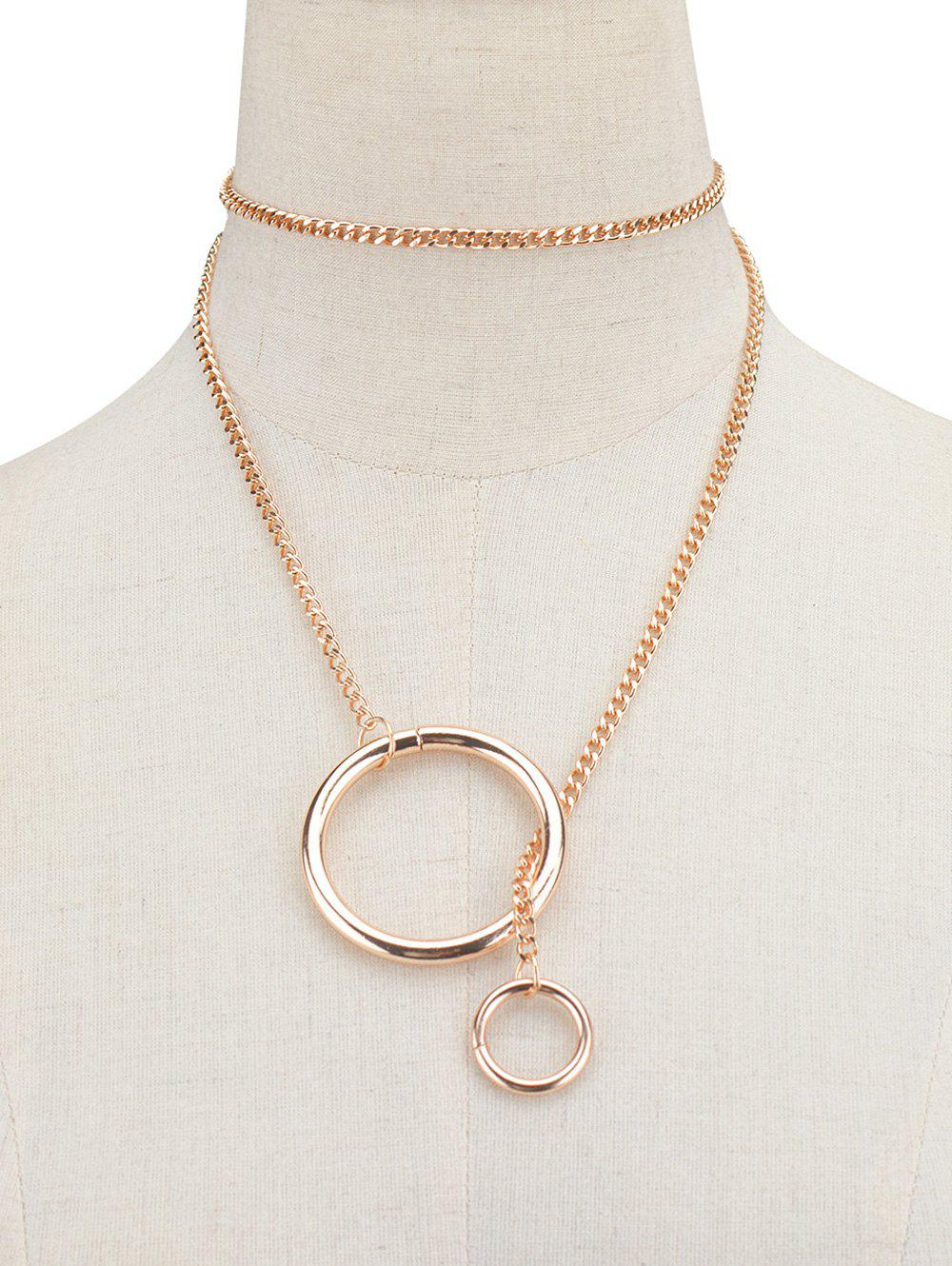 Vintage Circle Chain NecklaceJEWELRY<br><br>Color: GOLDEN; Item Type: Pendant Necklace; Gender: For Women; Style: Trendy; Shape/Pattern: Round; Weight: 0.070kg; Package Contents: 1 x Necklace;