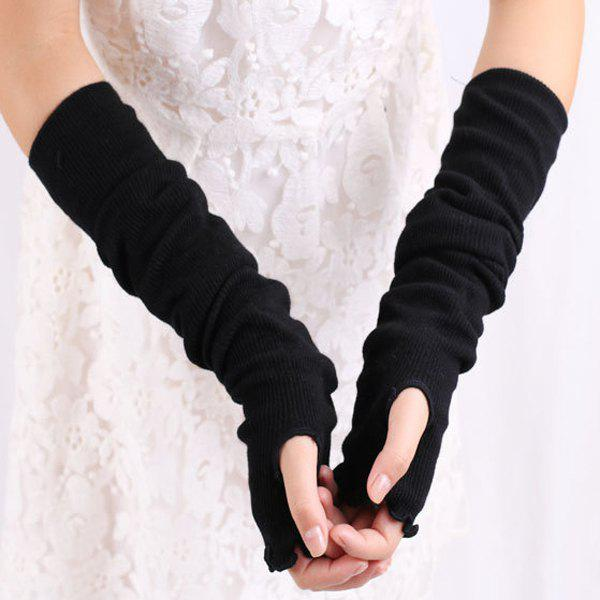 Knit Fingerless Arm Warmers with Flouncing EdgeACCESSORIES<br><br>Color: BLACK; Group: Adult; Gender: For Women; Style: Fashion; Glove Length: Elbow; Pattern Type: Solid; Material: Acrylic; Weight: 0.150kg; Package Contents: 1 x Gloves(Pair);