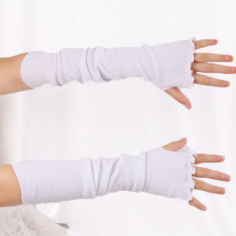 Fancy Knit Fingerless Arm Warmers with Flouncing Edge