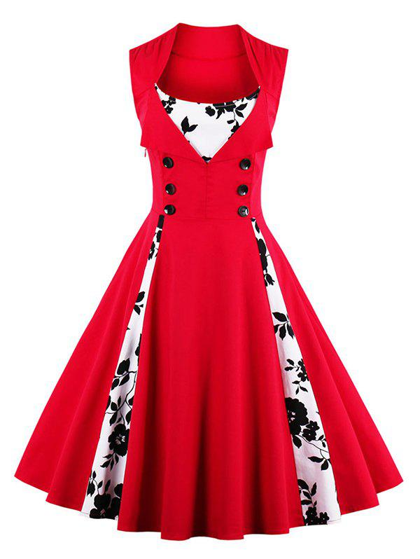Store Fit and Flare Print Vintage Tea Length Dress