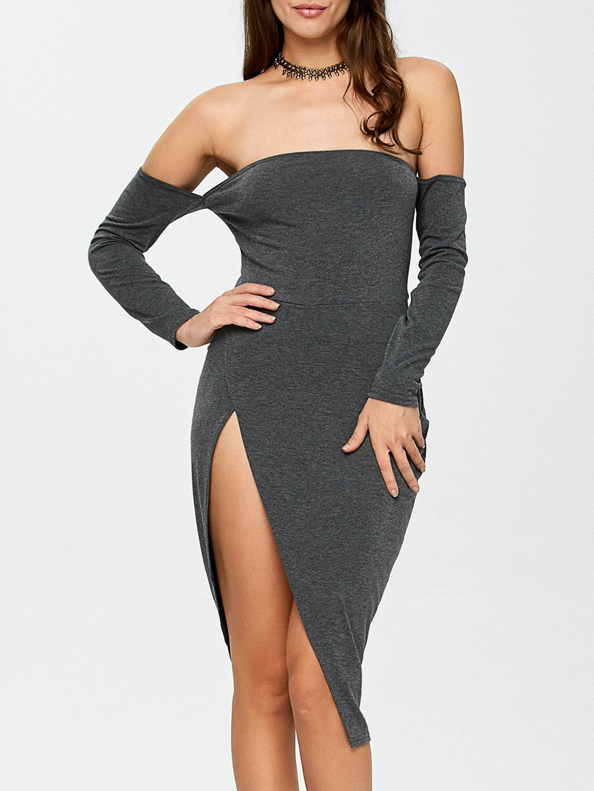 Outfits Off The Shoulder Slit Bodycon Night Out Dress