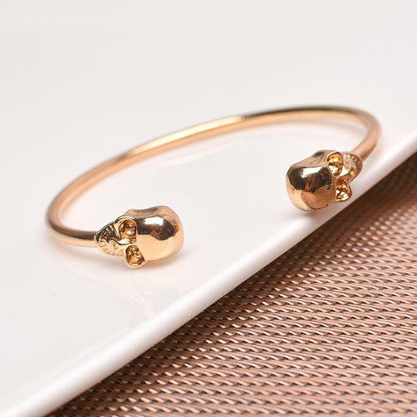 Vintage Skull Gold Plated Cuff BraceletJEWELRY<br><br>Color: GOLDEN; Item Type: Cuff Bracelet; Gender: For Women; Chain Type: Others; Style: Trendy; Shape/Pattern: Skull; Weight: 0.040kg; Package Contents: 1 x Bracelet;