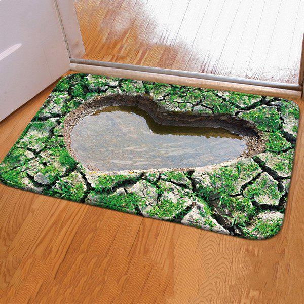 3D Heart Pool Design Water Absorption Door Floor CarpetHOME<br><br>Size: 40CM*60CM; Color: GREEN; Type: Carpet; Material: Fleece Fabric; Style: Contemporary; Shapes: Rectangle; Size(CM): 40*60; Weight: 0.4800kg; Package Contents: 1 x Carpet;