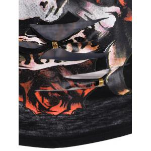 Skull Print Ripped Halloween T-Shirt - BLACK 2XL