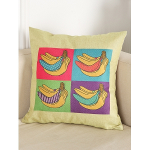 Banana Print Chair Backrest Throw Linen Pillowcase